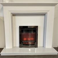 Odella Fireplace in White & Grey